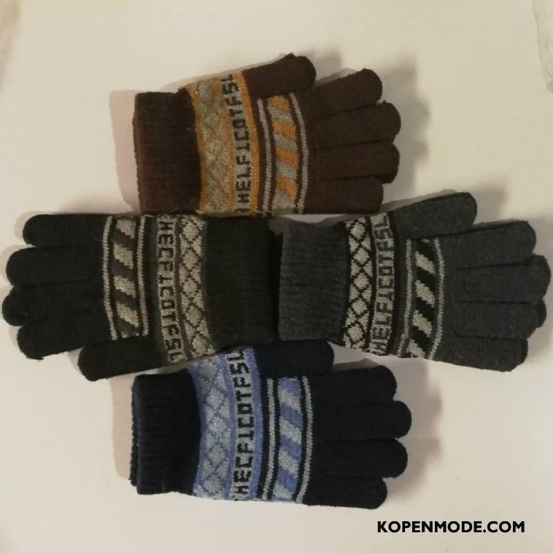 Handschoenen Heren Mode Mannen Wollen Casual Blijf Warm Geel Oranje