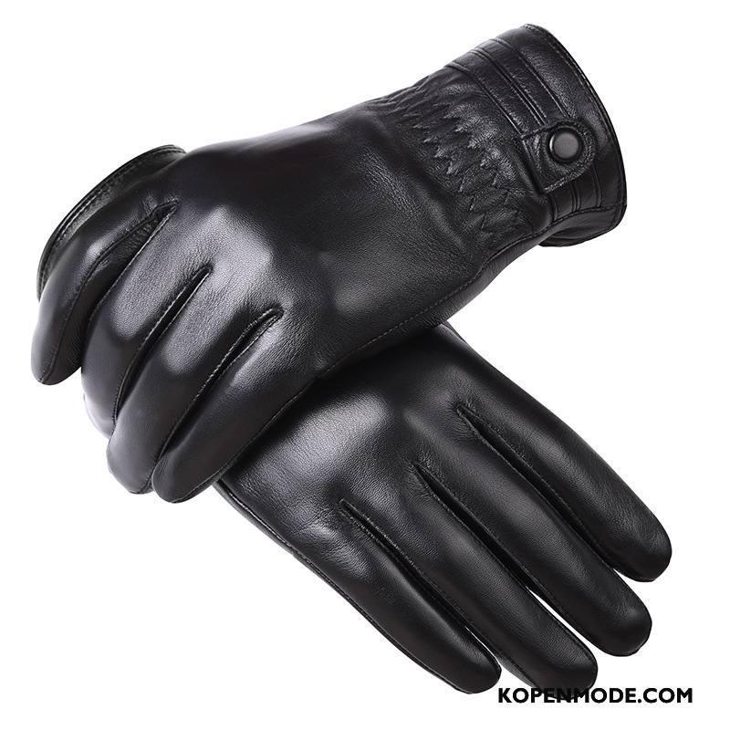 Handschoenen Heren Touchscreen Pluche Winter Leer Mannen Verdikken Zwart