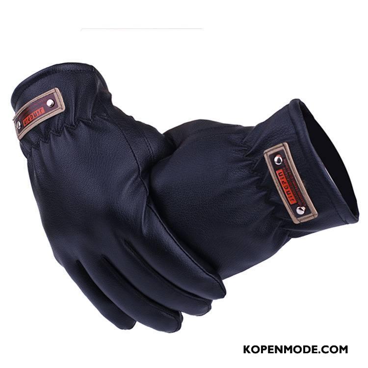 Handschoenen Heren Van Katoen Leer Paardrijden Winter Autorijden Zeemleer Blauw