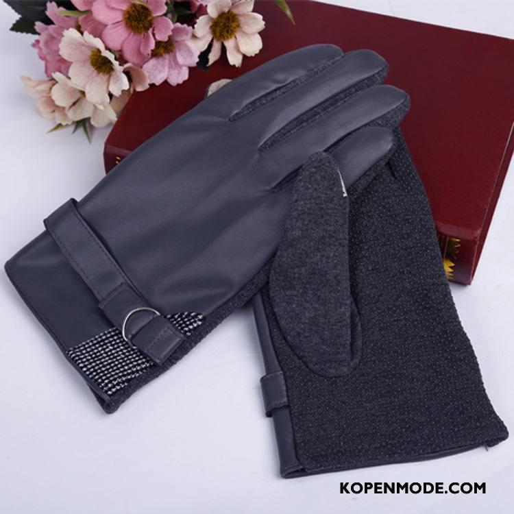 Handschoenen Heren Verdikken Fluweel Blijf Warm Touchscreen Pluche Antislip Marineblauw