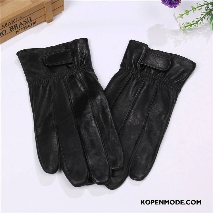 Handschoenen Heren Vrouwen Schapenleer Winter Koude Echt Leer Outdoor Zwart