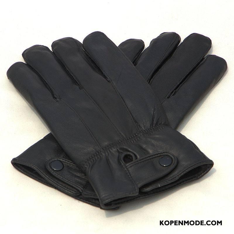 Handschoenen Heren Winddicht Blijf Warm Winter Mannen Echt Leer Herfst Zwart