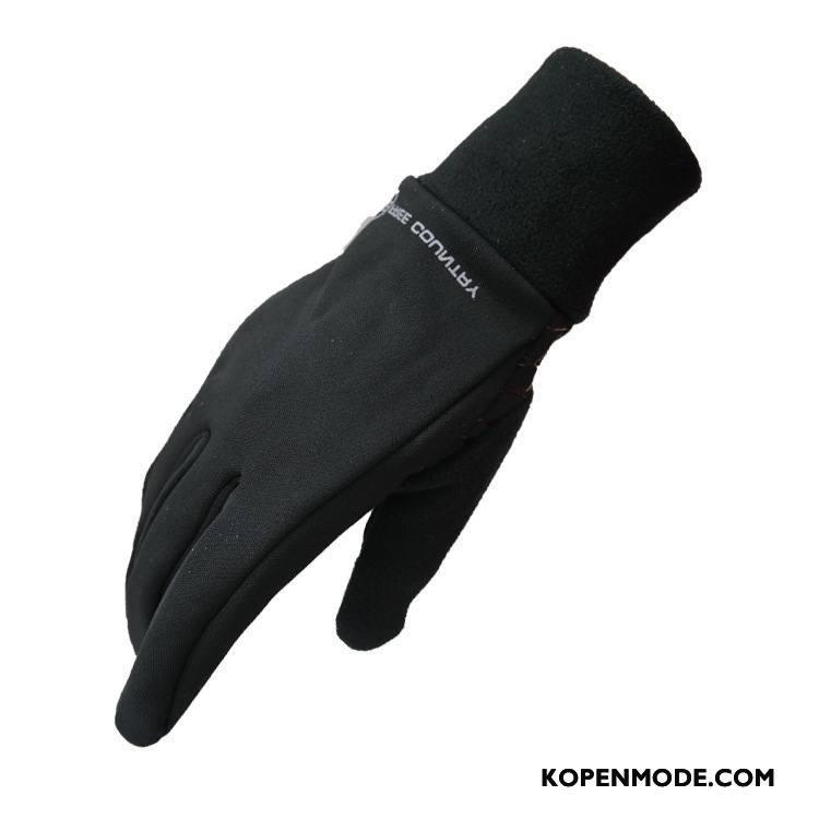 Handschoenen Heren Winddicht Winter Outdoor Running Mannen Fluweel Zwart