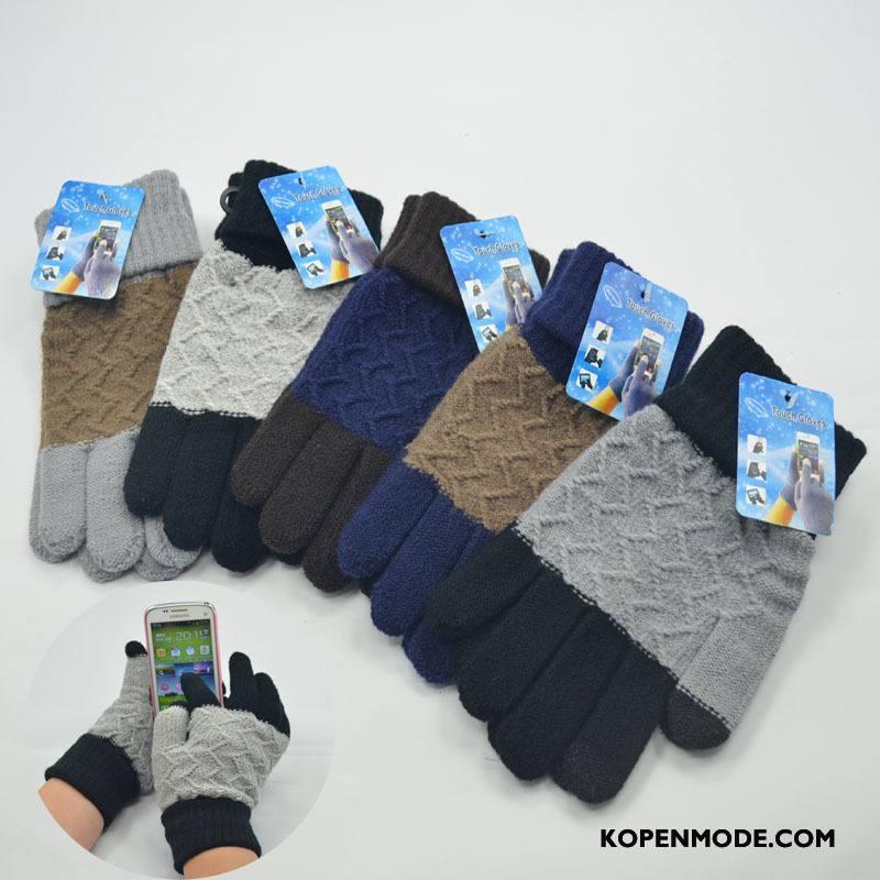 Handschoenen Heren Winter Nieuw Breien Pluche Blijf Warm Mannen Gemengde Kleuren Zwart Grijs Licht