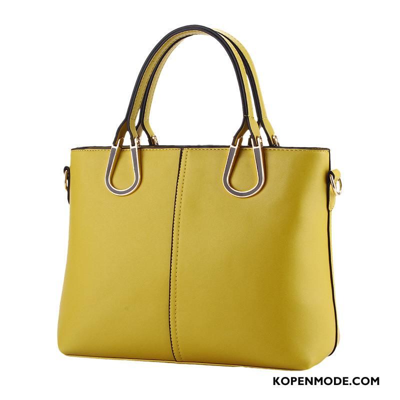 Handtas Dames High End Nieuw Leer Messenger Tas Trend Mode Effen Kleur Geel Goud