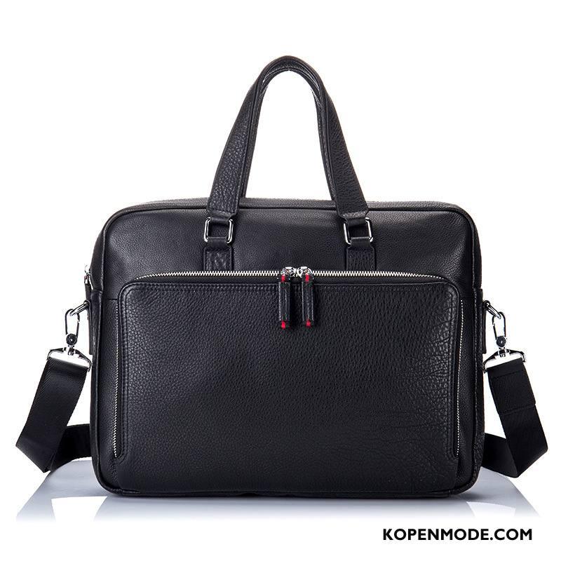 Handtas Heren Messenger Tas Lederen Echt Leer Business Schoudertas Mode Zwart