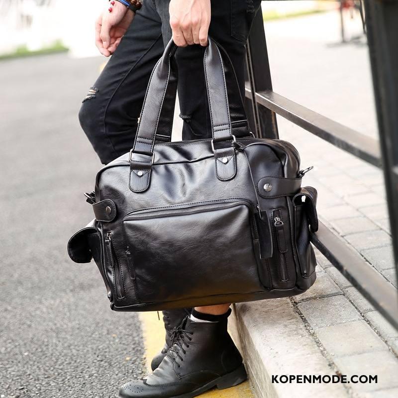 Handtas Heren Mode Casual Straat Trend Mannen Messenger Tas Zwart