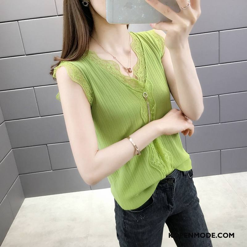 Hemdje Dames Mouwloos Onderhemd Sexy V Hals Vrouwen Ijszijde Zwart Groen