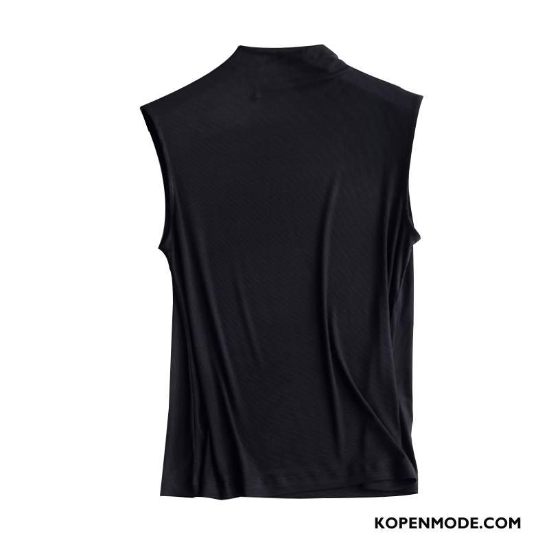 Hemdje Dames Onderhemd Skinny Vrouwen Hoge Kraag Mouwloos Nieuw Zwart