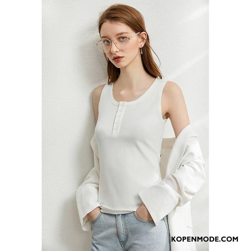 Hemdje Dames Onderhemd Vrouwen Dunne Slim Fit Bovenkleding Trend Wit