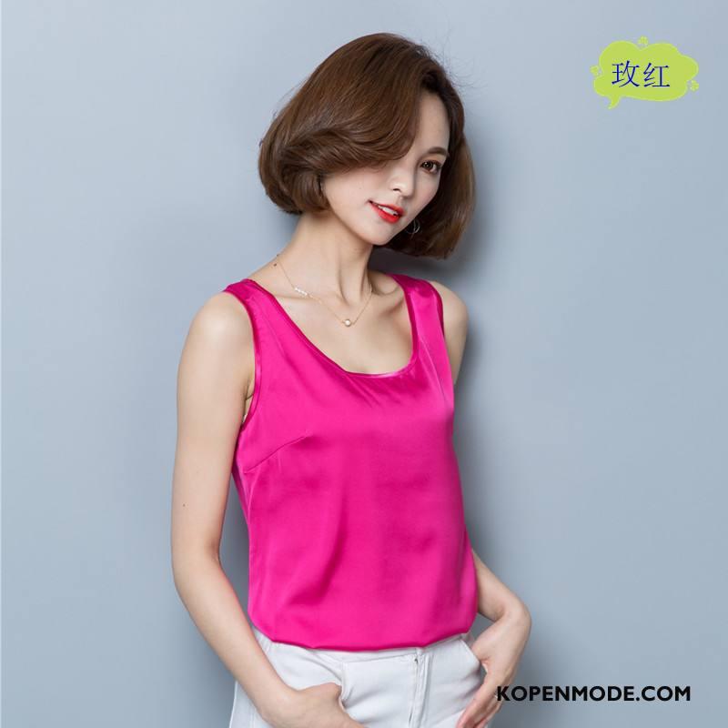 Hemdje Dames Trend Voorjaar Elegante Mode Bretels Vers Roze Rood Effen Kleur