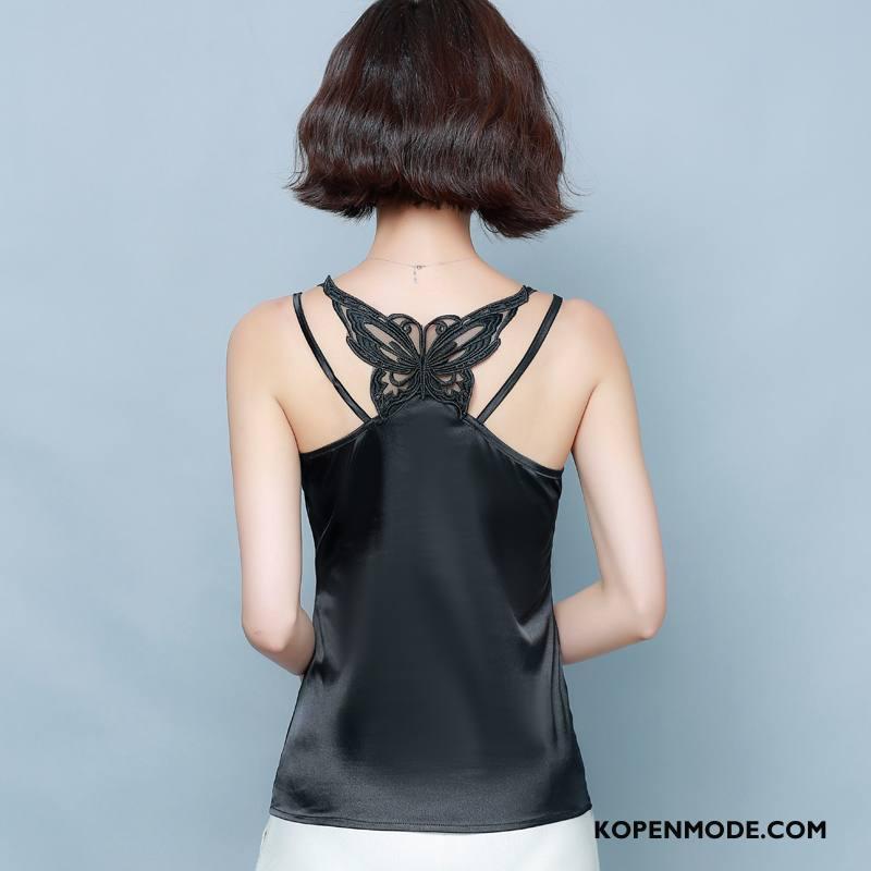 Hemdje Dames Zijde Jasje Onderhemd Leggings Vrouwen Bovenkleding Zwart