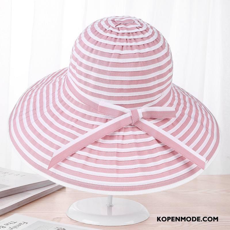 Hoeden Dames Groot Vouw Zonnebrandcrème Streep Vrouwen Zomer Zandkleur Roze