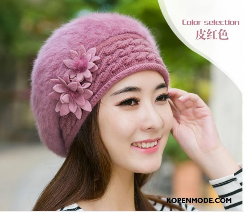 Hoeden Dames Herfst Vrouwen Mode Breien Muts Nieuw Blijf Warm Roze