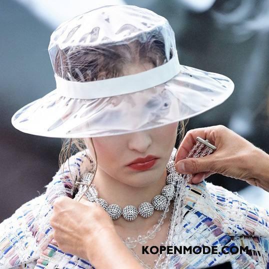 Hoeden Dames Mesh 2018 Zon Vrouwen Ster Doorzichtig Rood Wit