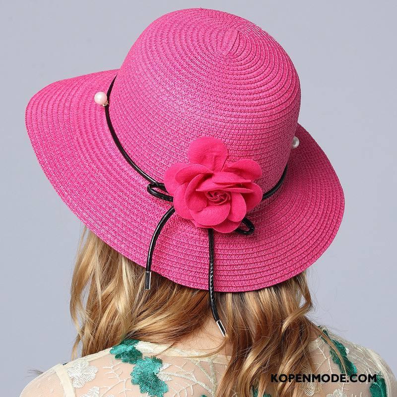 Hoeden Dames Reis Zon Nieuw Mode Voorjaar Strohoed Roze Rood Zandkleur