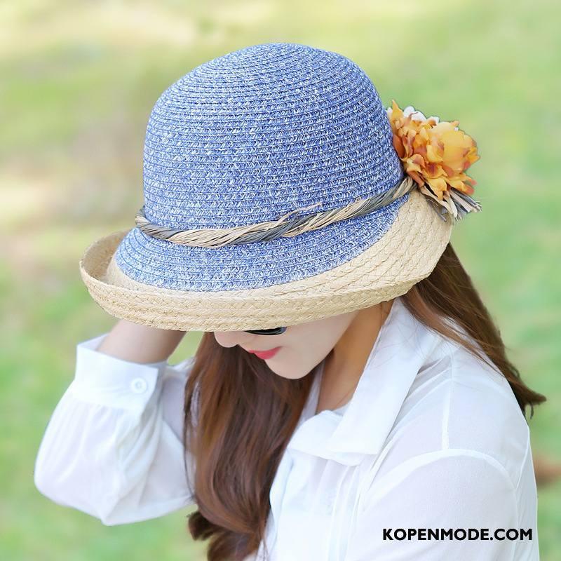 Hoeden Dames Strand Zon Voorjaar Mode Zonnehoeden Vrouwen Hemelsblauw Zandkleur