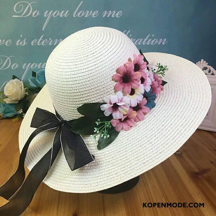 Hoeden Dames Strohoed Vrouwen Bloemen Zonnehoeden Nieuw Zonnebrandcrème Paars Zandkleur Wit