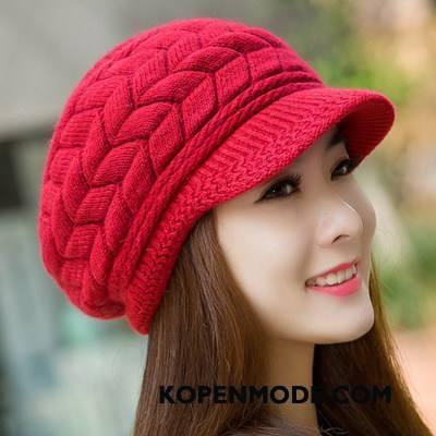 Hoeden Dames Wollen Muts Schattig Breien Vrouwen Mode Herfst Rood