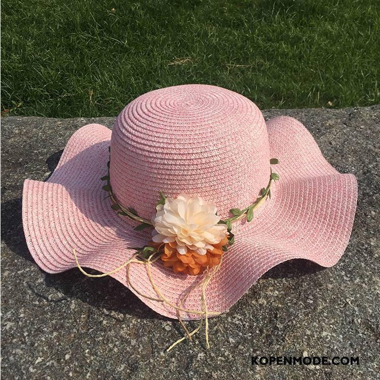 Hoeden Dames Zon Zonnebrandcrème Strand Outdoor Zonnehoeden Nieuw Zandkleur Roze