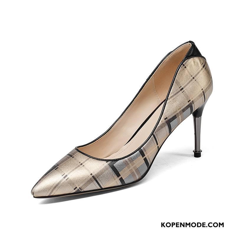 Hoge Hakken Dames Mode Pumps Schoenen Punt Leer Vrouwen Gemengde Kleuren Gouden Licht