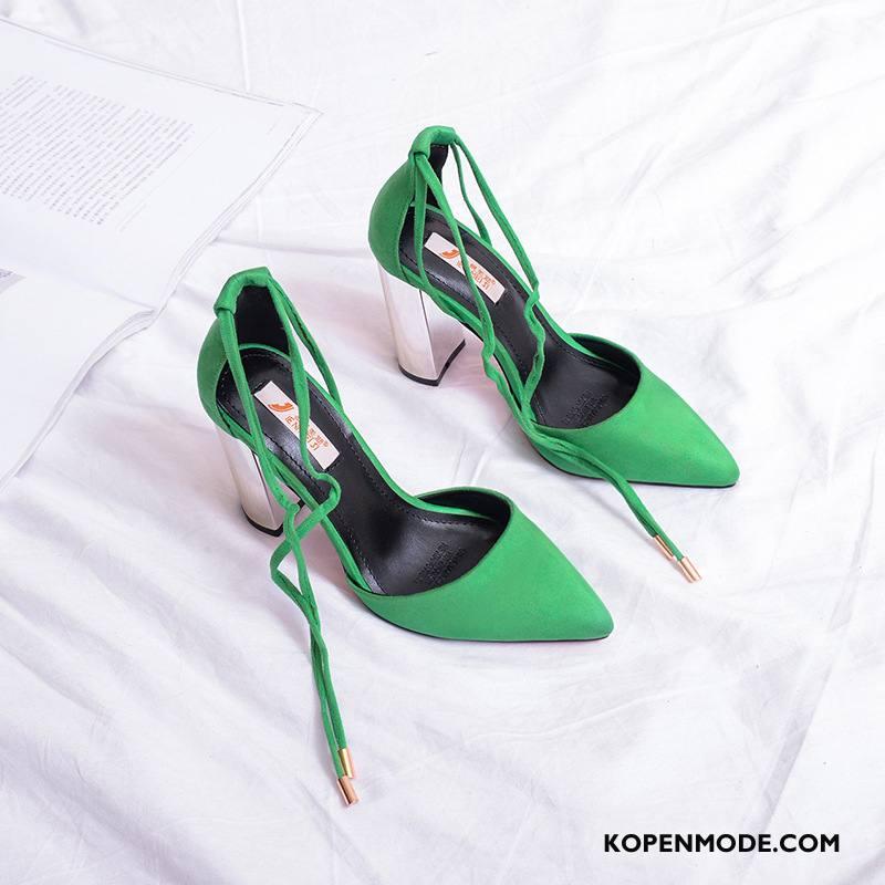 Hoge Hakken Dames Pumps Bandjes Sandaal Schoenen Punt Vrouwen Licht Groen
