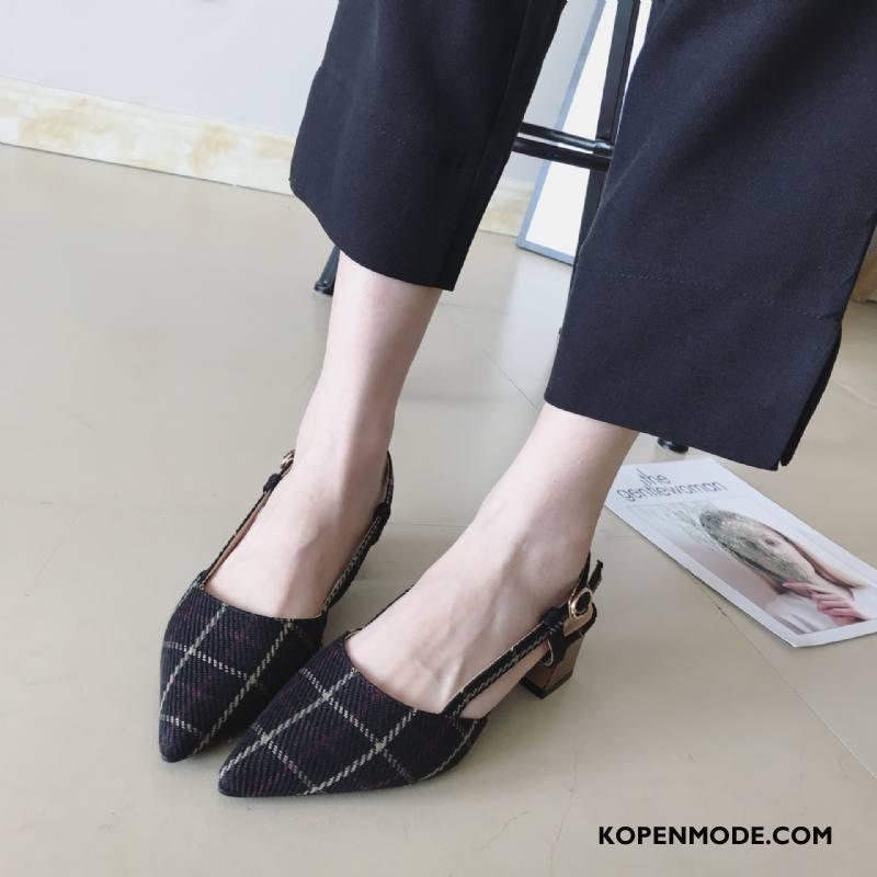 Hoge Hakken Dames Vrouwen Pumps Sandaal Vers Geruit Schoenen Zwart