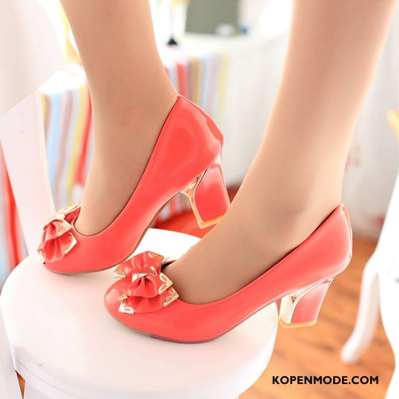 Hoge Hakken Dames Zoet Grote Maten Europa Vlinderdas Schoenen Vrouwen Roze
