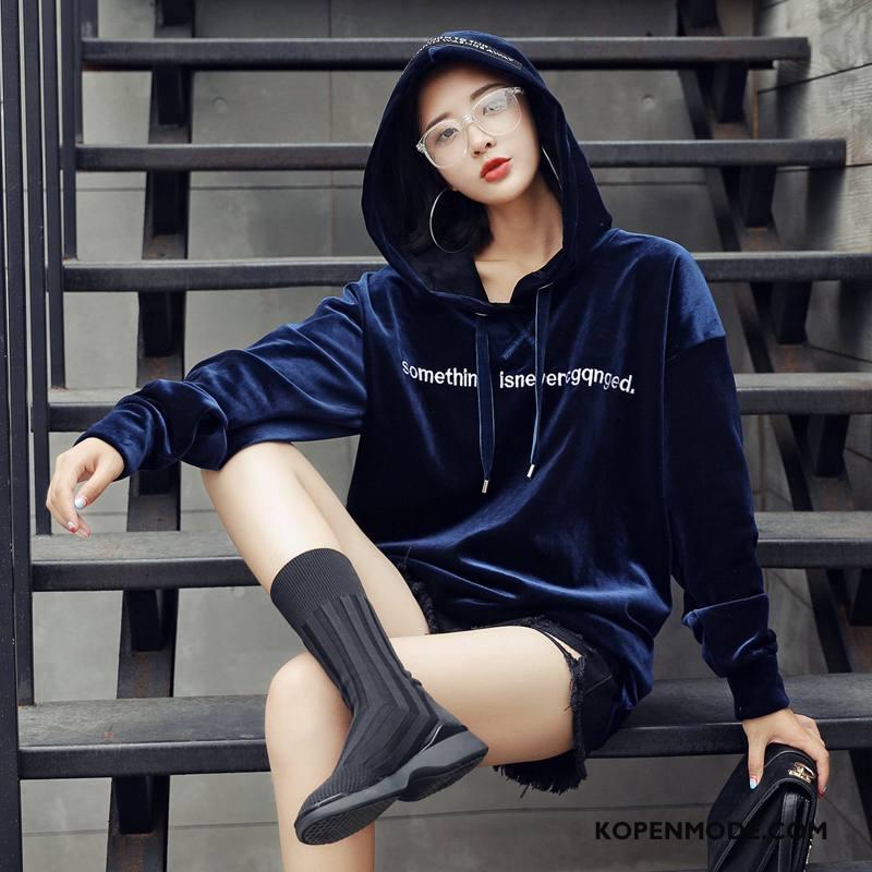 Hoodies Dames Bedrukken Trend Voorjaar Losse 2018 Mode Marineblauw