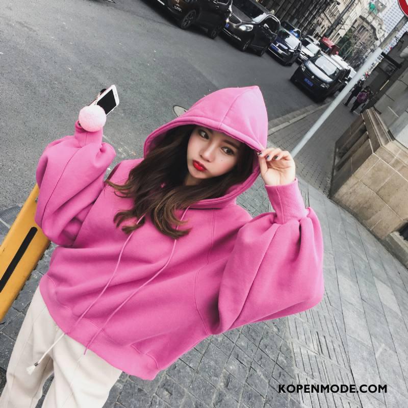 Hoodies Dames Casual Elegante Trend Slim Fit Herfst 2018 Roze Rood