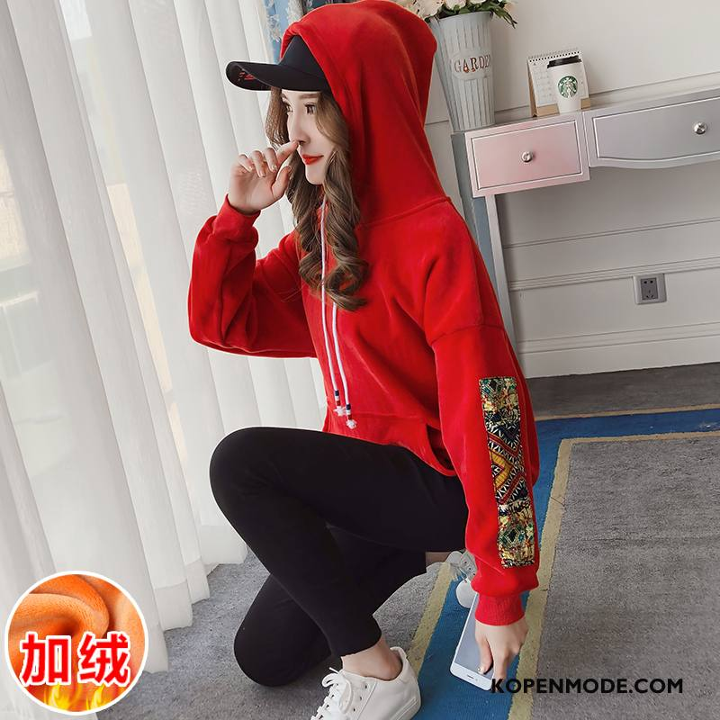 Hoodies Dames Lange Mouwen Pullover 2018 Plus Kasjmier Winter Losse Rood