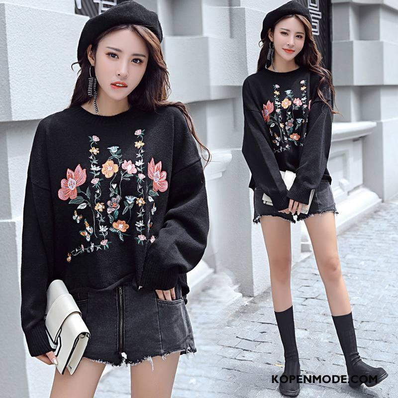 Hoodies Dames Trend Mode Lange Mouwen Slim Fit Persoonlijk Dunne Zwart
