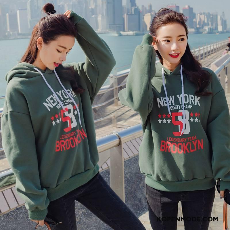 Hoodies Dames Verbinding Losse Trend Mode Elegante Voorjaar Legergroene Effen Kleur