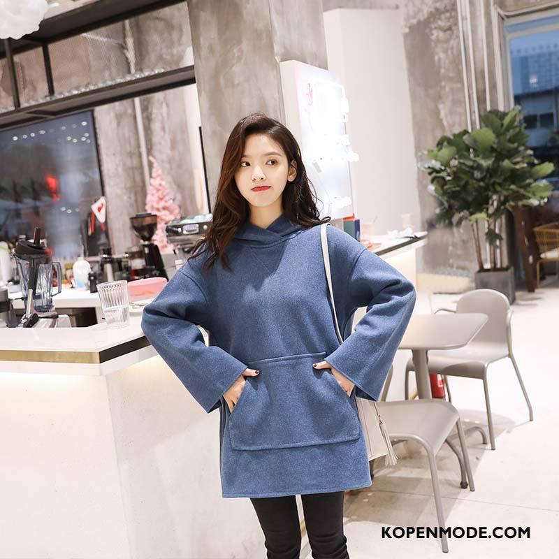 Hoodies Dames Voorjaar Mode Dunne Elegante Trend 2018 Effen Kleur Blauw