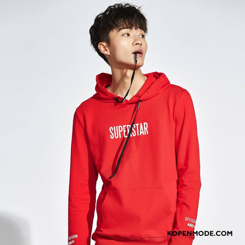 Hoodies Heren 2018 Casual Lange Mouwen Nieuw Voorjaar Mode Rood