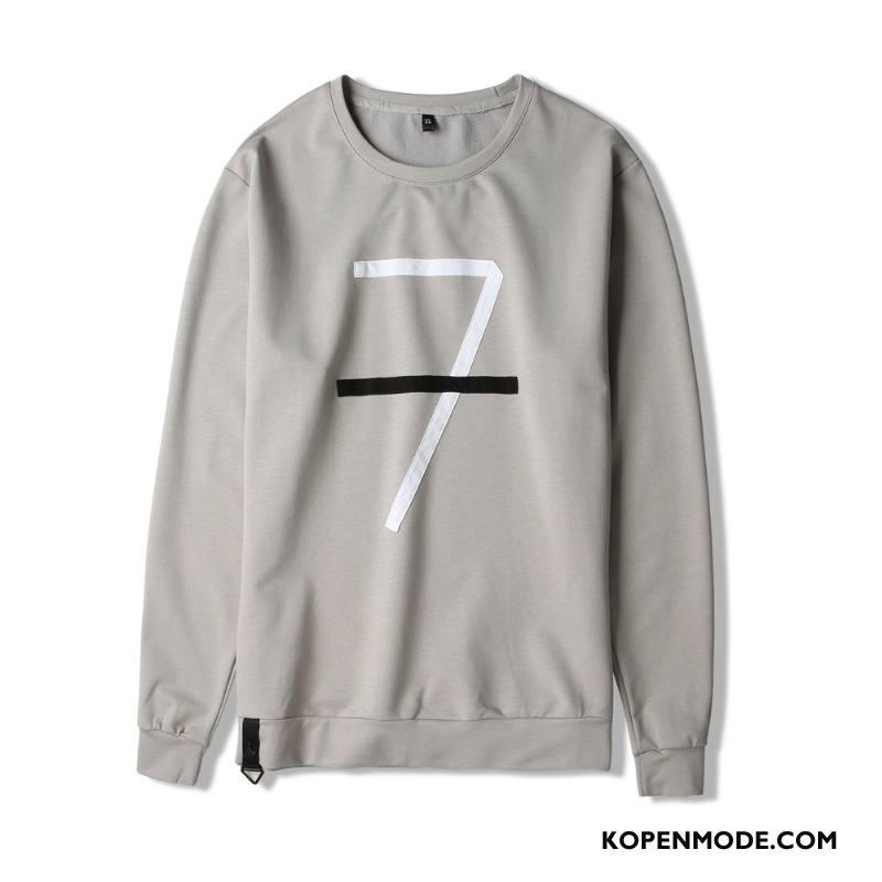Hoodies Heren Herfst Voorjaar Jeugd Trend Casual T-shirt Lange Mouw Grijs