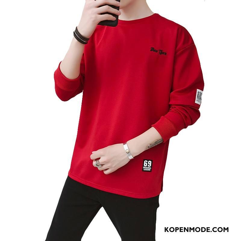 Hoodies Heren T-shirts Nieuw Onderhemd Casual Slim Fit Lange Mouwen Rood