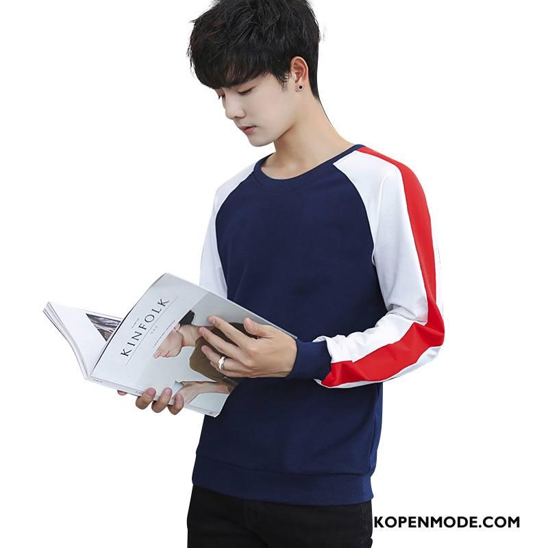 Hoodies Heren Trend Katoen Onderhemd T-shirt Lange Mouw Mannen Herfst Zwart