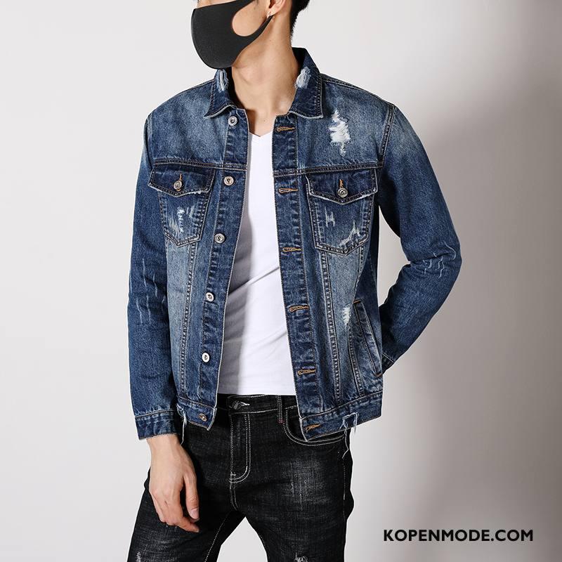 Jassen Heren Mode Denim Jack Blauw