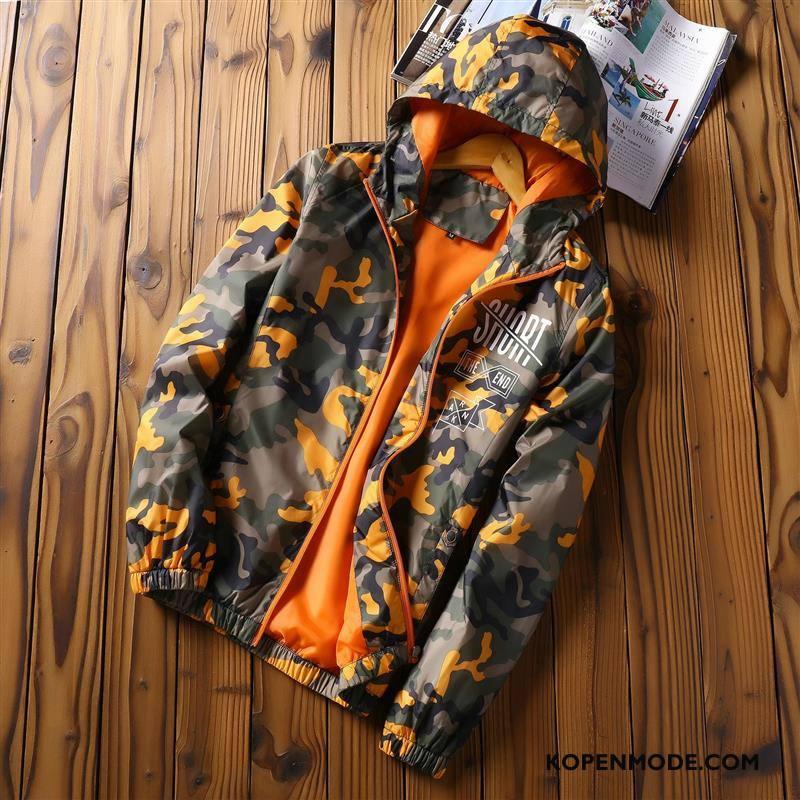 Jassen Heren Trend Voorjaar Casual Student Met Capuchon Mannen Camouflage Oranje