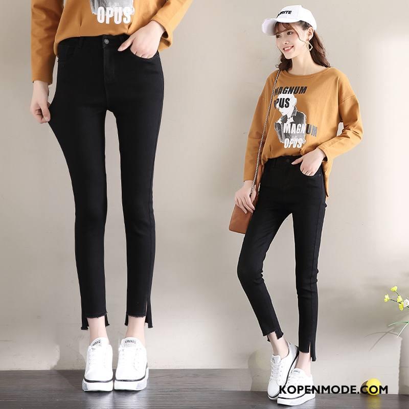 Jeans Dames 2018 Denim Herfst Spijkerbroek Jeans Potlood Broek Hoge Taille Zwart Gouden