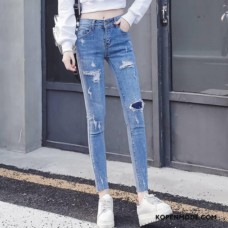 Jeans Dames 2018 Vers Mode Trend Slim Fit Voorjaar Blauw