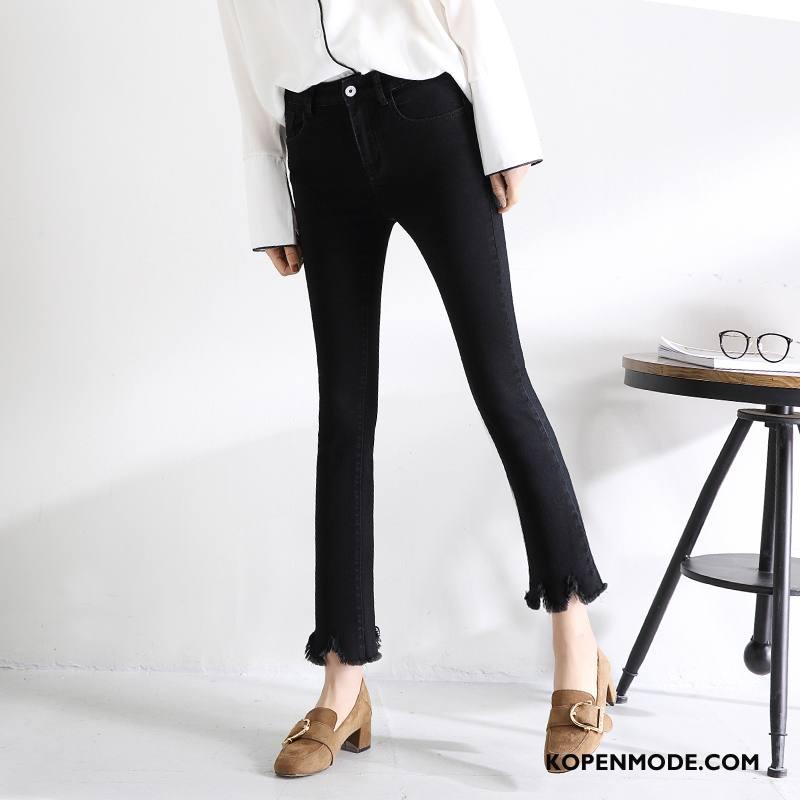 Jeans Dames Casual 2018 Elegante Zuiver Mode Voorjaar Effen Kleur Zwart