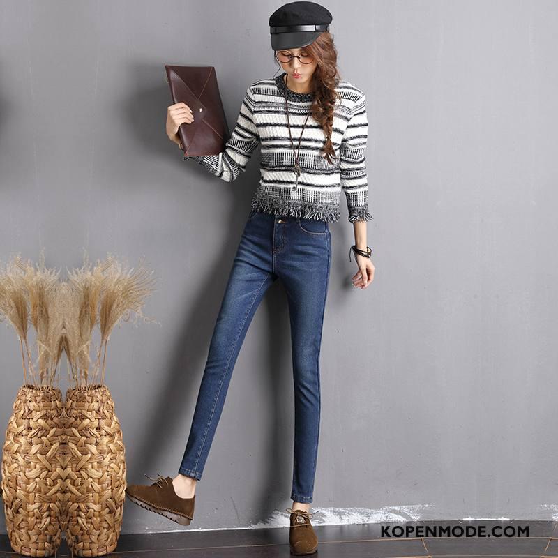 Jeans Dames Dikke Trend Winter Broek Spijkerbroek Jeans Potlood Broek Blauw