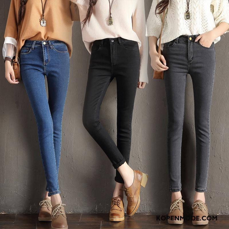 Jeans Dames Dunne Gaten Spijkerbroek Jeans Herfst Eenvoudige Elegante Effen Kleur Blauw