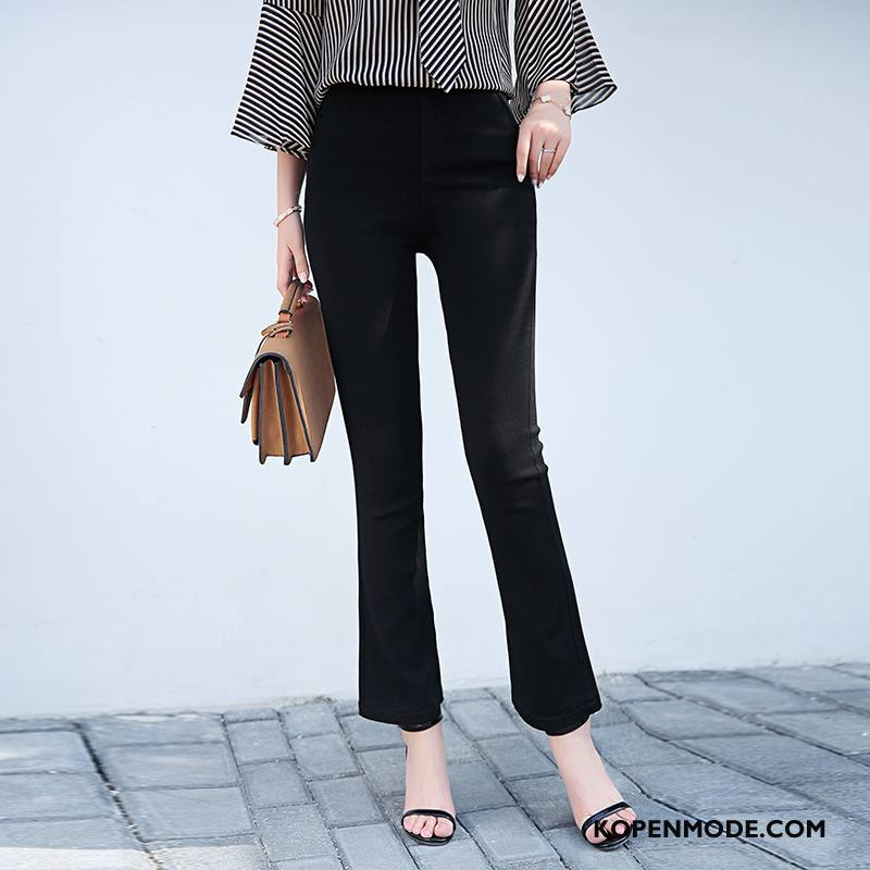Jeans Dames Dunne Trend Zomer 2018 Slim Fit Eenvoudige Effen Kleur Zwart