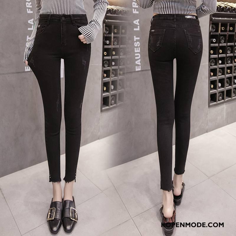 Jeans Dames Elegante Eenvoudige Broek Comfortabele Voorjaar Potlood Broek Effen Kleur Zwart
