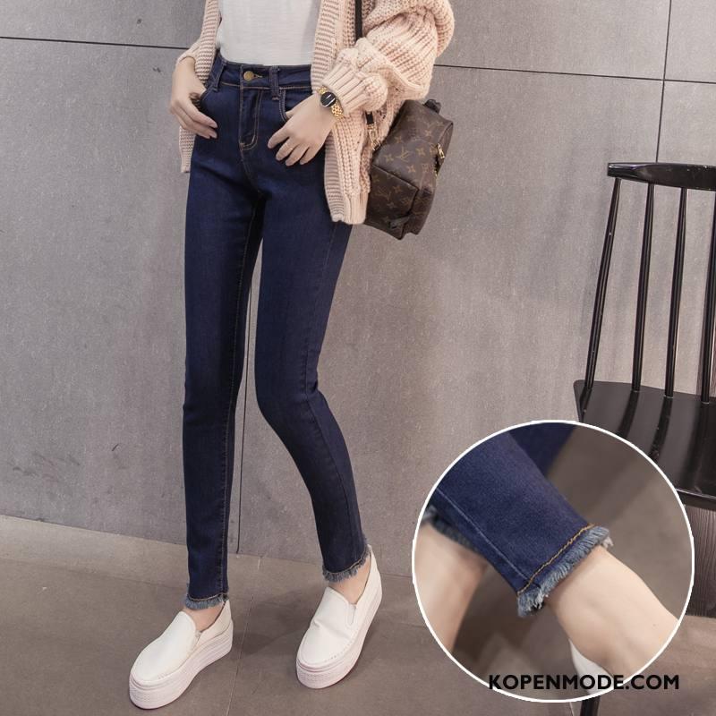 Jeans Dames Katoen Hoge Taille Mode Denim Potlood Broek 2018 Blauw Donker