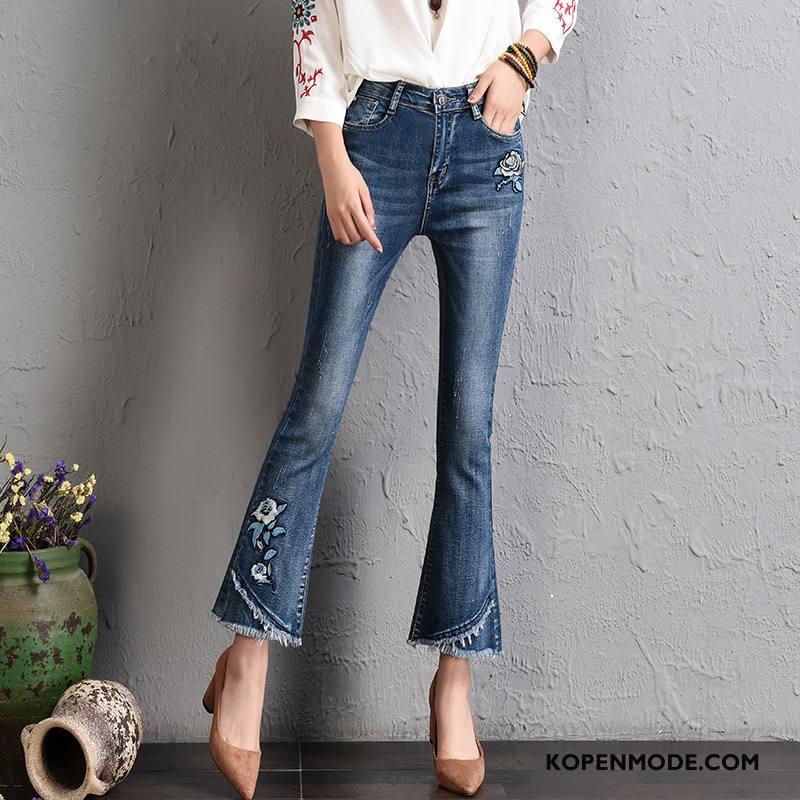 Jeans Dames Mode Elegante Spijkerbroek Jeans Slim Fit 2018 Herfst Blauw