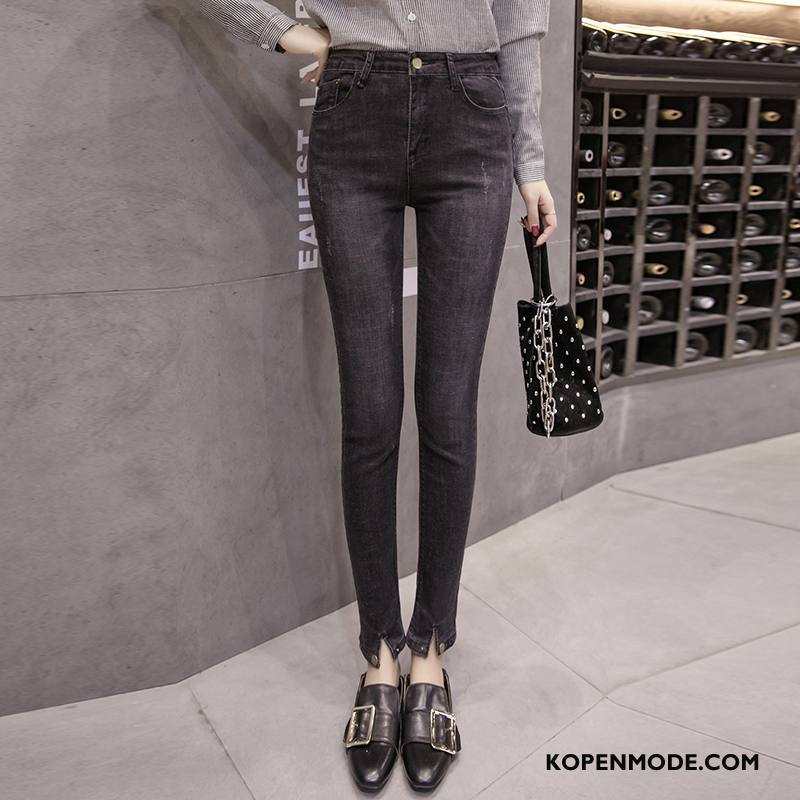 Jeans Dames Mode Hoge Taille Katoen Comfortabele Trend Casual Zwart